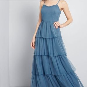 MODCLOTH Heavenly Haute Blue Tiered Maxi Dress